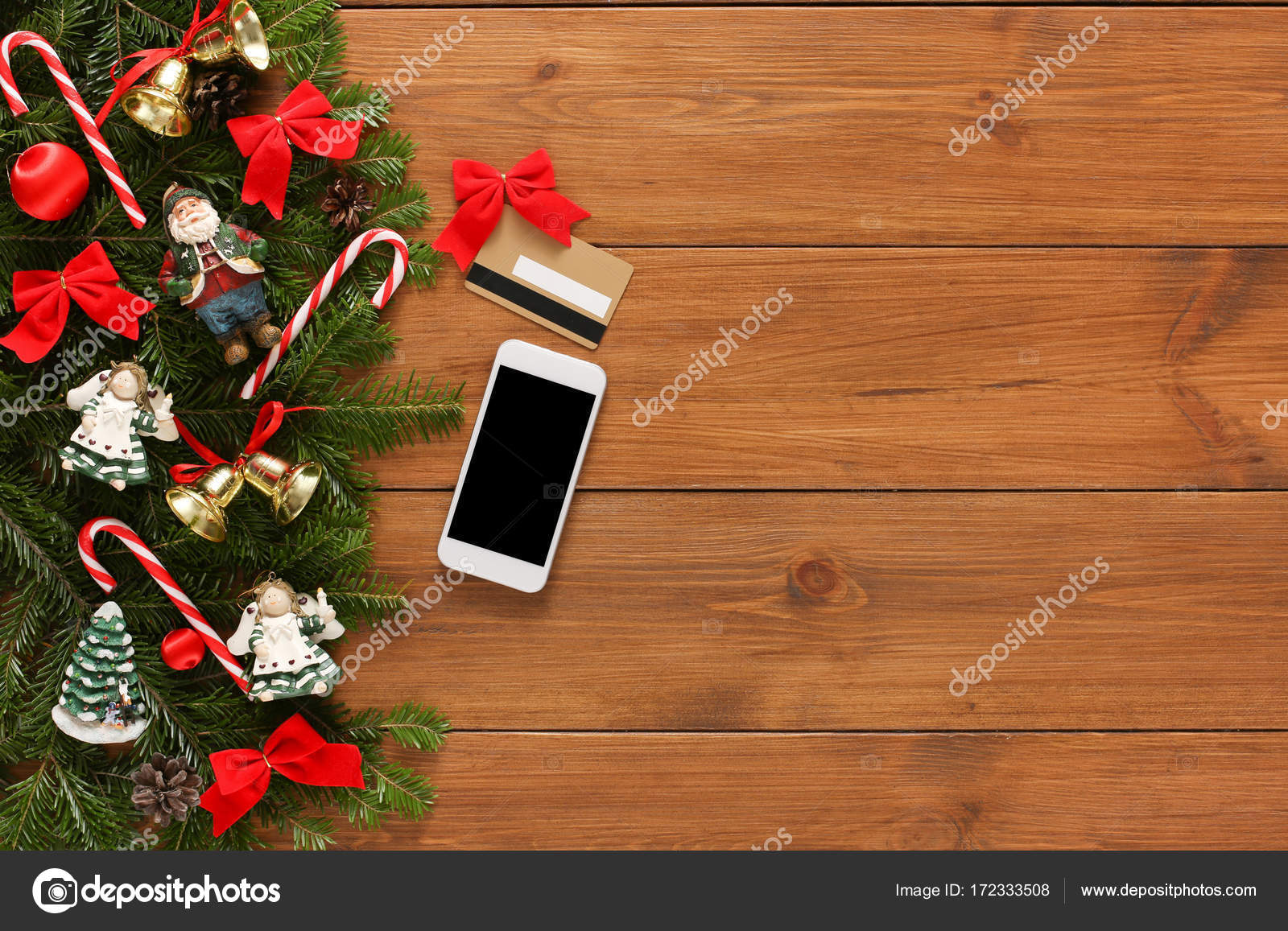 Online paying for christmas decor background — Stock Photo