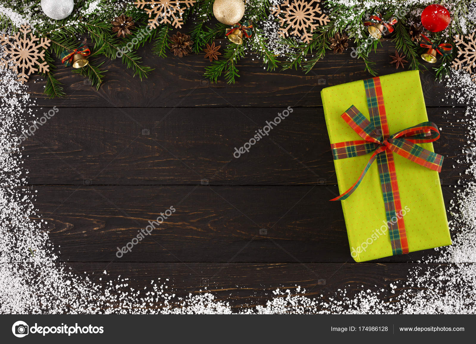 Christmas decoration, gift box and garland frame background