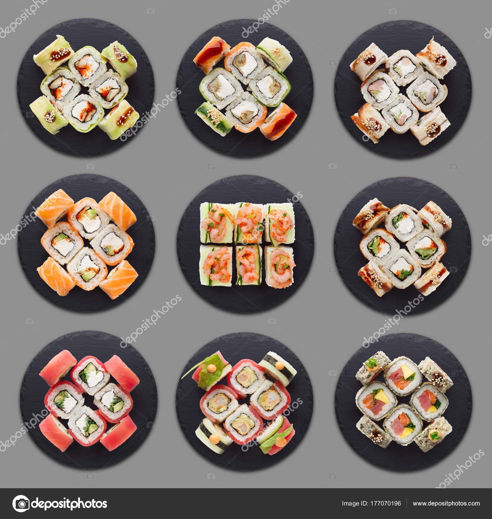 Kolaż Sushi Różne Zestawy Zdjęcie Stockowe Milkos 177070196