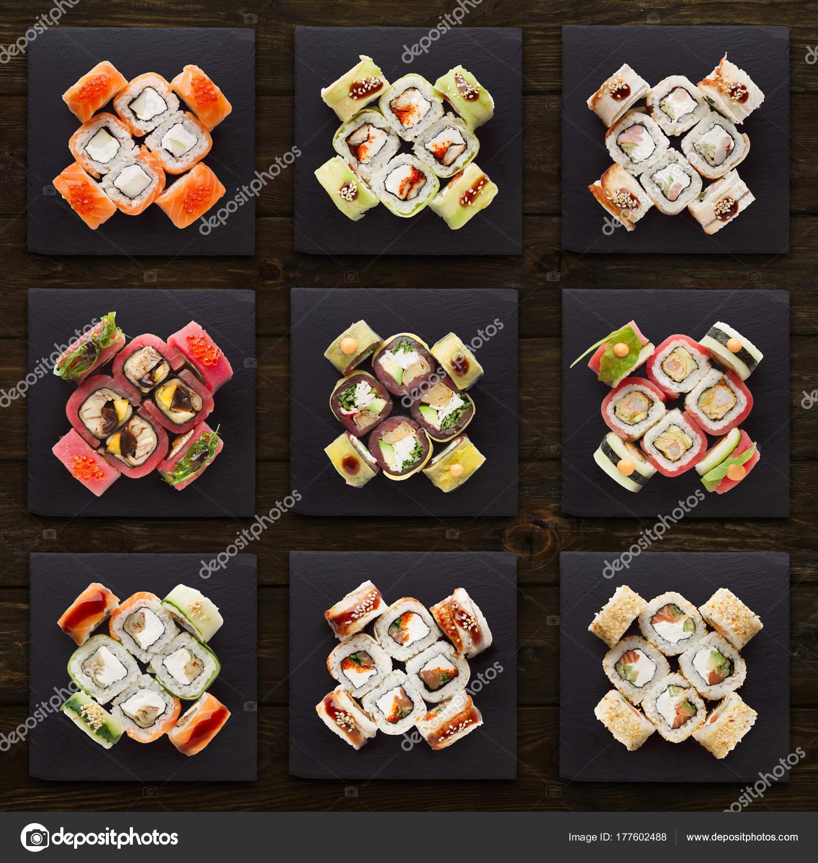 Kolaż Sushi Różne Zestawy Zdjęcie Stockowe Milkos 177602488