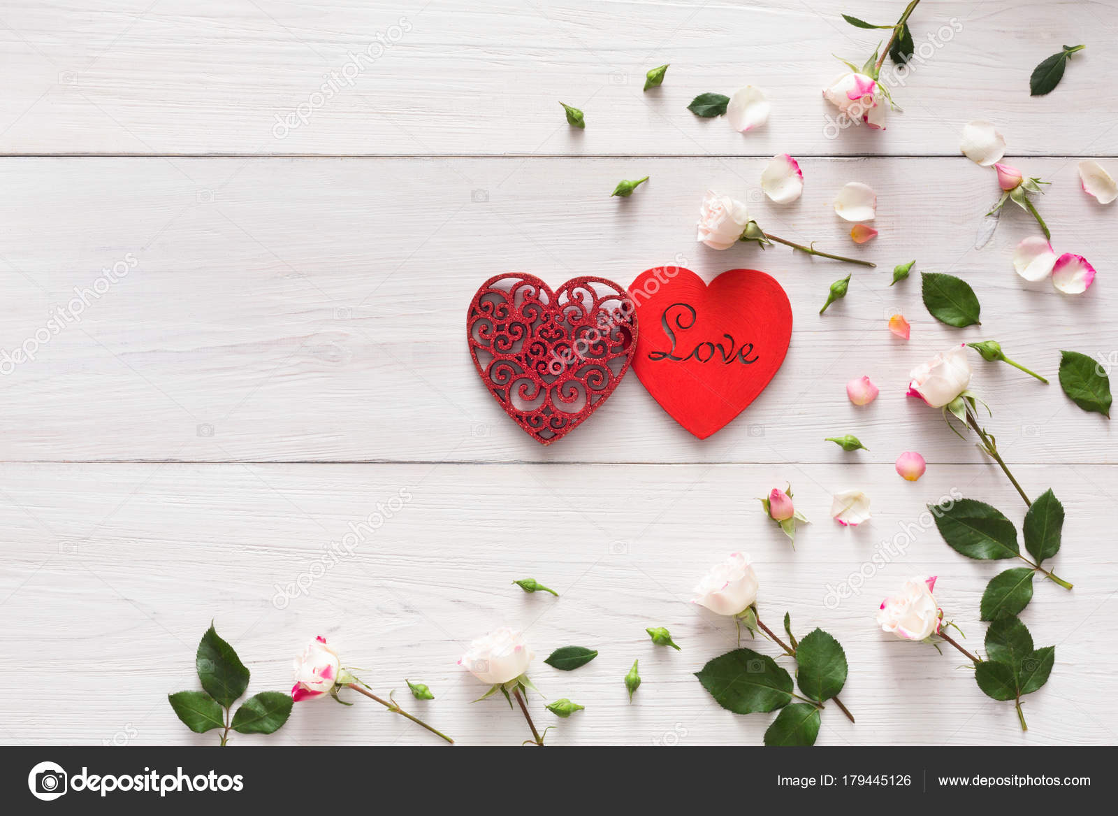 Valentine Background With Pink Rose Flowers Handmade Hearts Couple On White Rustic Wood Stock