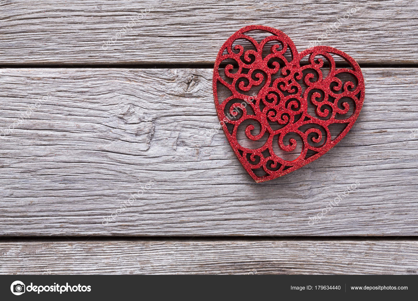 Valentine Background With Lace Red Heart Shape On Rustic Wood Stock Photo