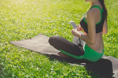 Unrecognizable woman after yoga training
