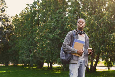 African-american student with books in park outdoors