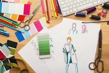 Hand drawn sketches for new fashion collection