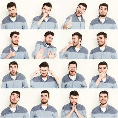 Set of young man different emotions at white studio background