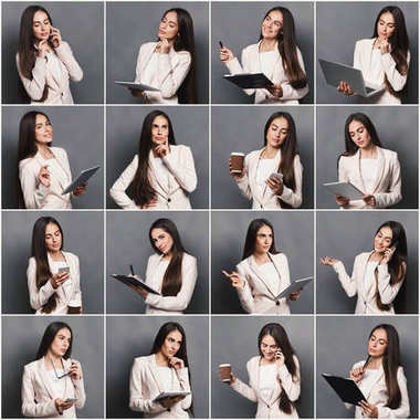 Set of different emotions of business woman in formal suit. Young female employee using gadgets and grimacing on camera. Happy, smiling, playful and serious portraits stock vector