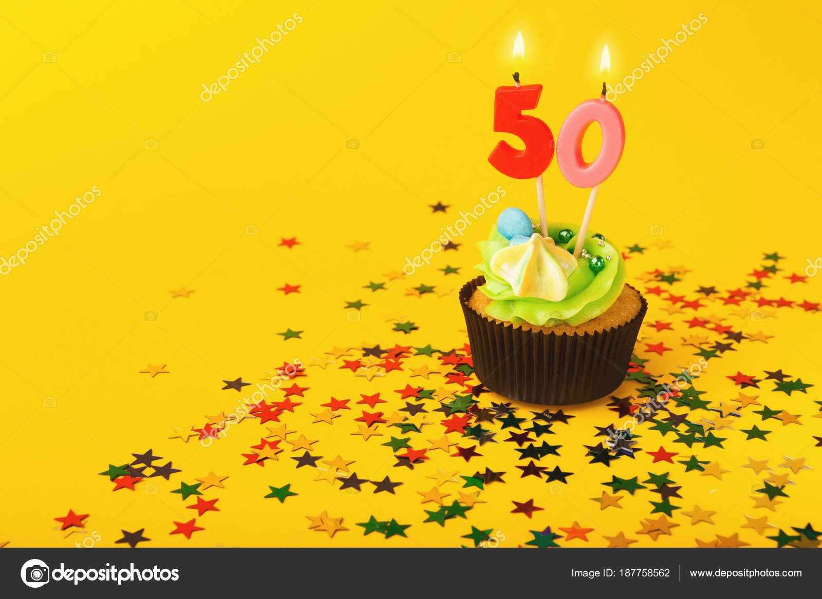50th Birthday Cupcake With Candle And Sprinkles On Yellow Background Card Mockup Copy Space Party Holiday Concept Photo By