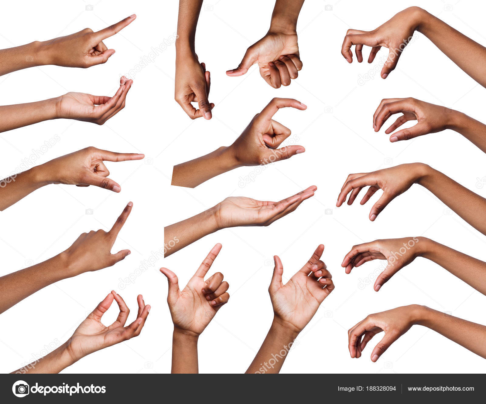 set of various hand gestures isolated on white stock photo