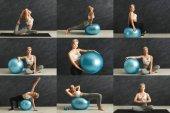 junge Frau macht Fitnessübungen mit Kurzhanteln