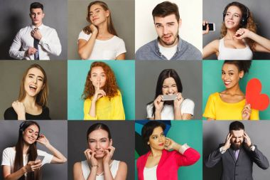Different emotions collage. Set of male and female emotional portraits. Positive and negative feelings mosaic. Young people grimacing on camera at colorful studio backgrounds stock vector