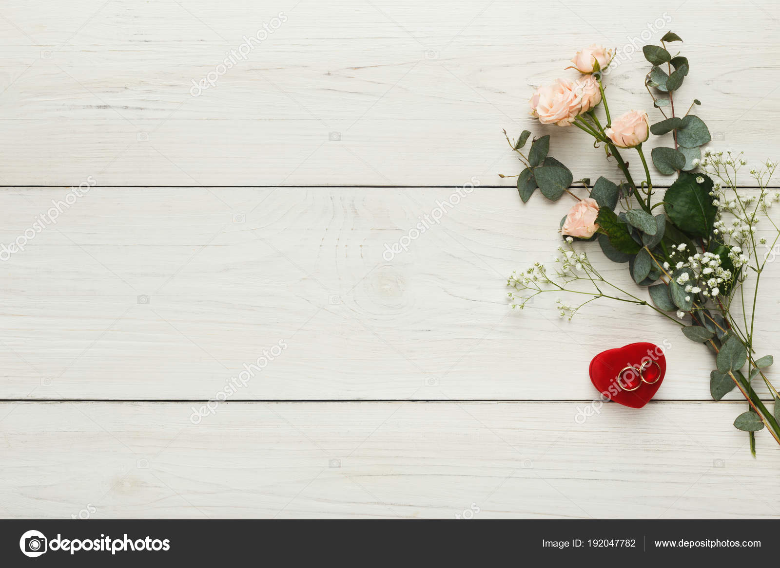 Golden Wedding Rings And Pink Roses On White Rustic Wood Top View Marriage Background With Copy Space Photo By Milkos