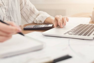 Closeup of woman hands typing on laptop and counting on calculator
