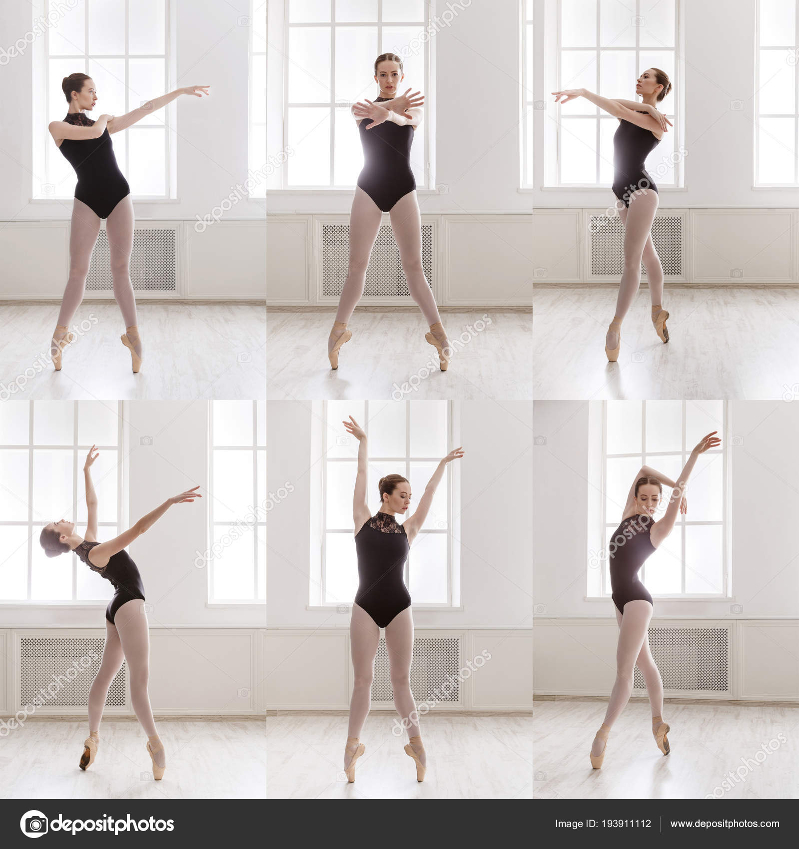 Collage Of Young Ballerina Standing In Ballet Poses Stock Photo C Milkos 193911112