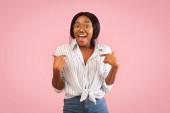 Black Girl Pointing Fingers At Herself Smiling Standing, Studio Shot