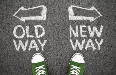 Choice between old and new way with arrows