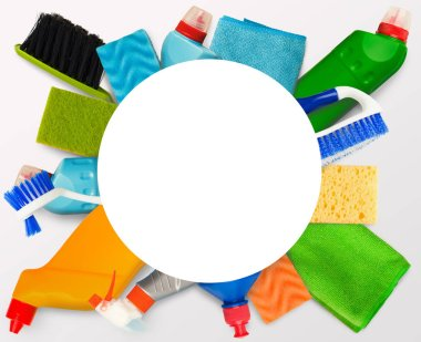 Cleaning tools background with white blank space for advertisement in middle