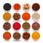 Sammlung verschiedener kulinarischer Gewürze mit Namen