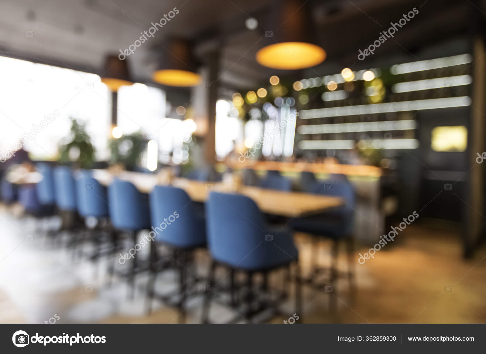 Blurred Abstract View On Bar Counter From Tables In Modern Cafe Stock Photo C Milkos 362859300