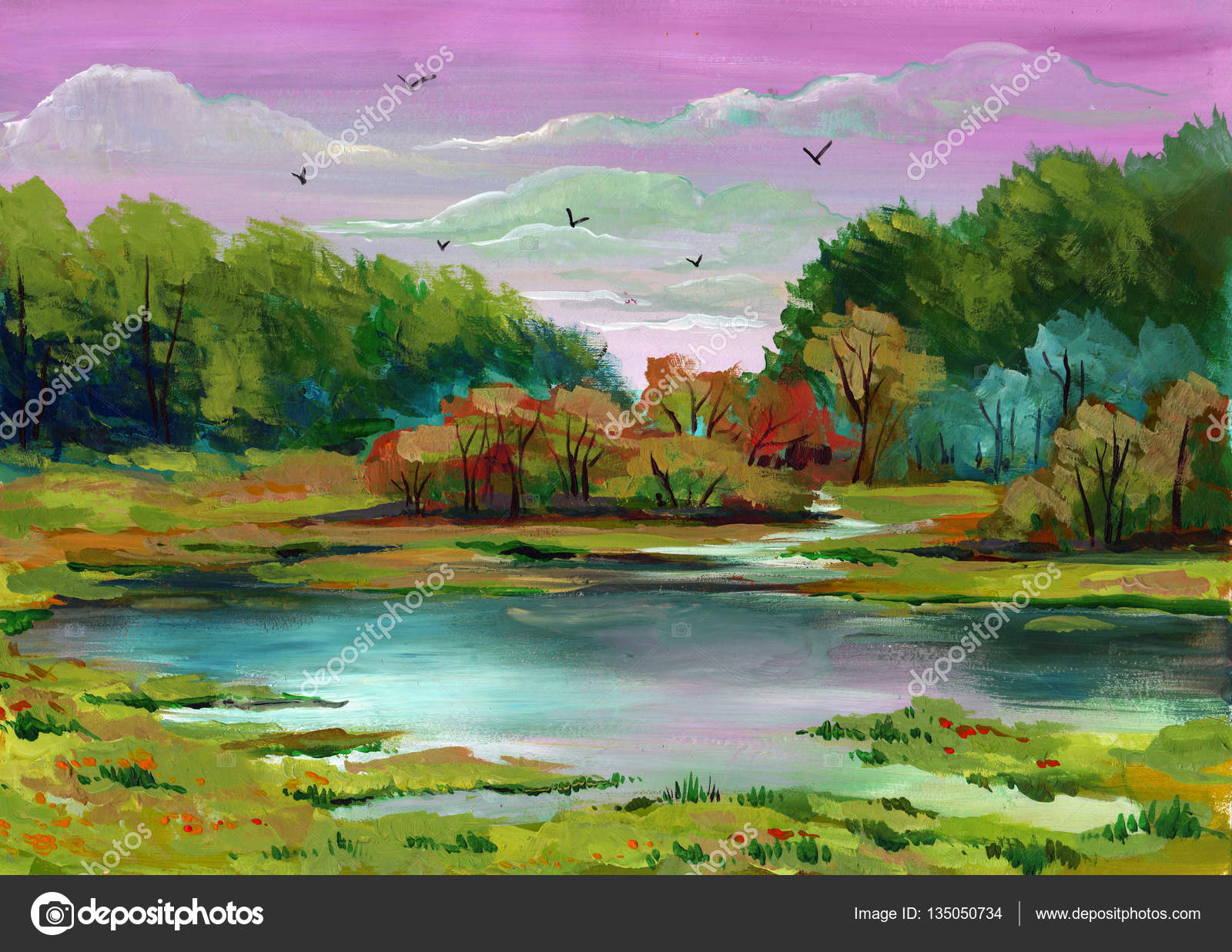 Beautiful bright painted colors of a Park landscape with trees and ...