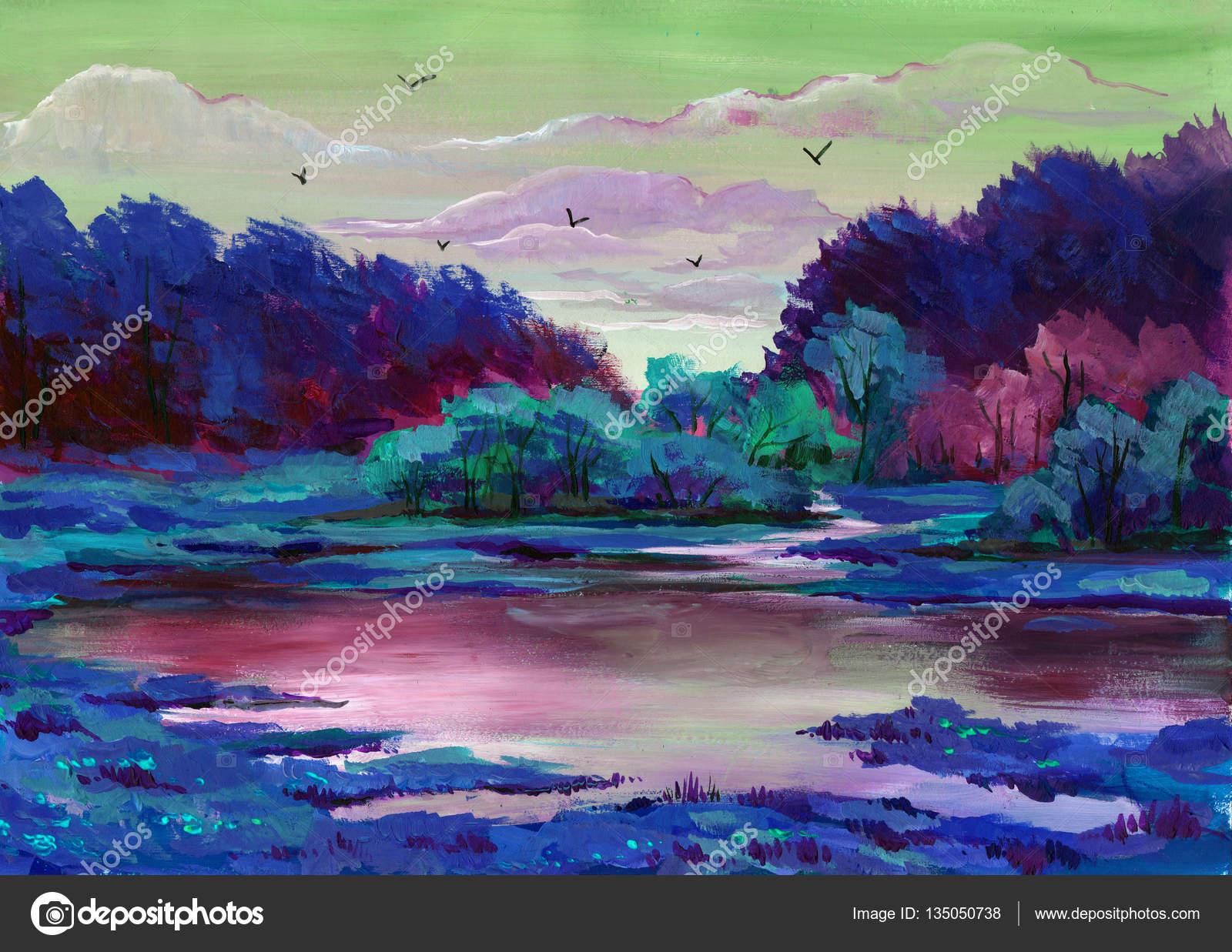 sch ne helle farben von einer parklandschaft mit b umen und gr sern gemalt stockfoto. Black Bedroom Furniture Sets. Home Design Ideas