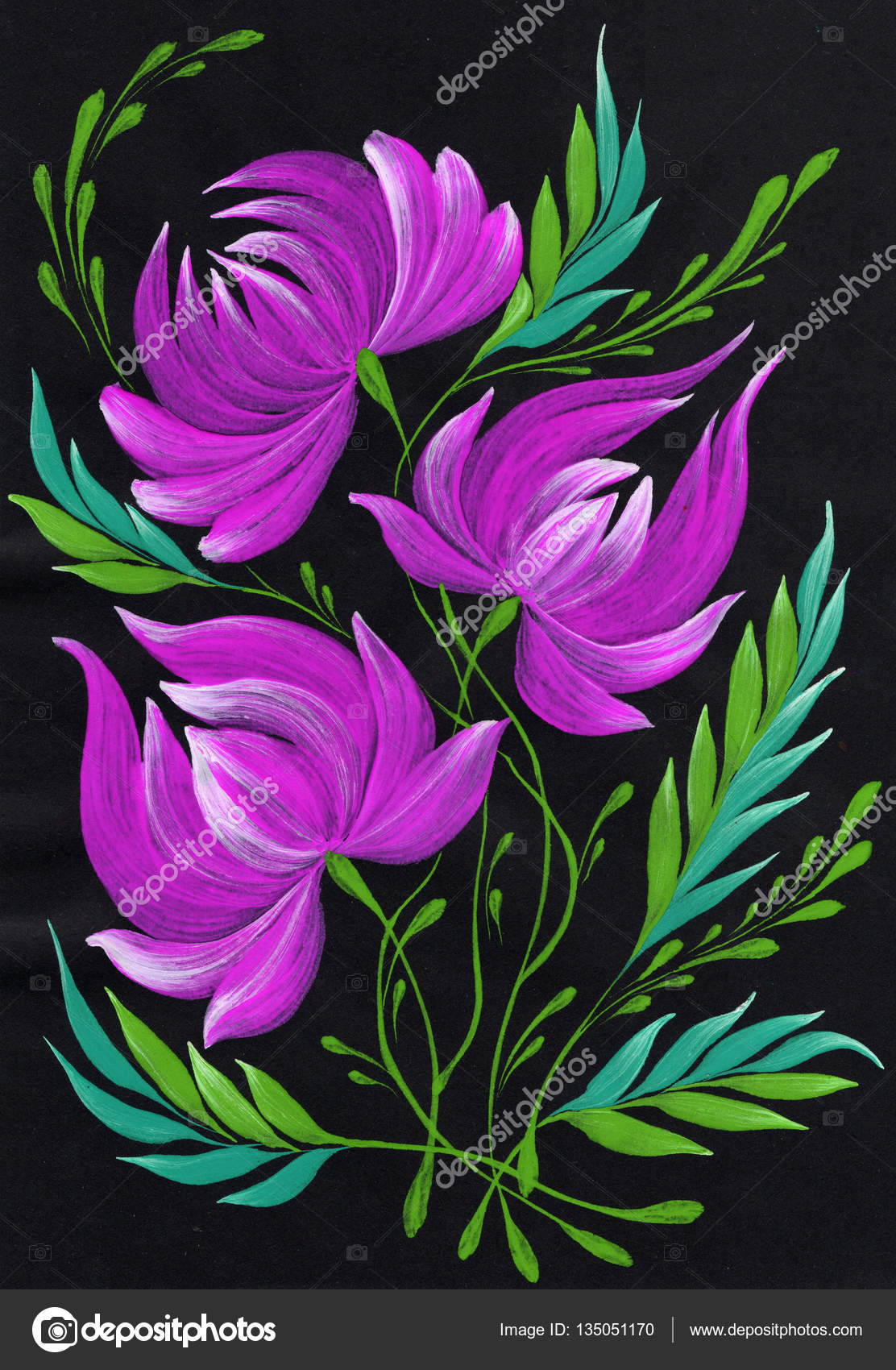 Isolated Decorative Bright Painted Flowers Gouache Paints Stock