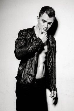 Stylish man in leather jacket