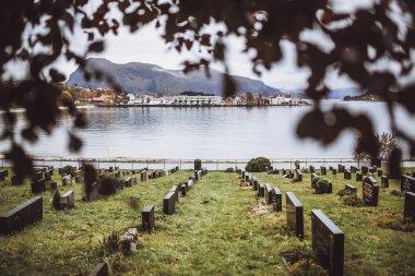 Cemetery over mountain valley