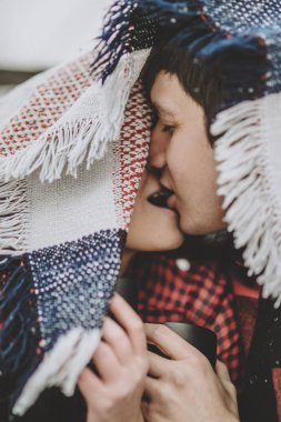 Moment between two kissing lovers