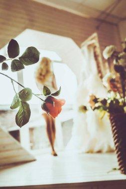 Young beautiful bride in wedding dress