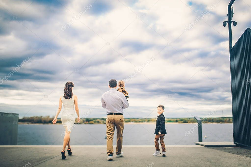 lovely family near city lake