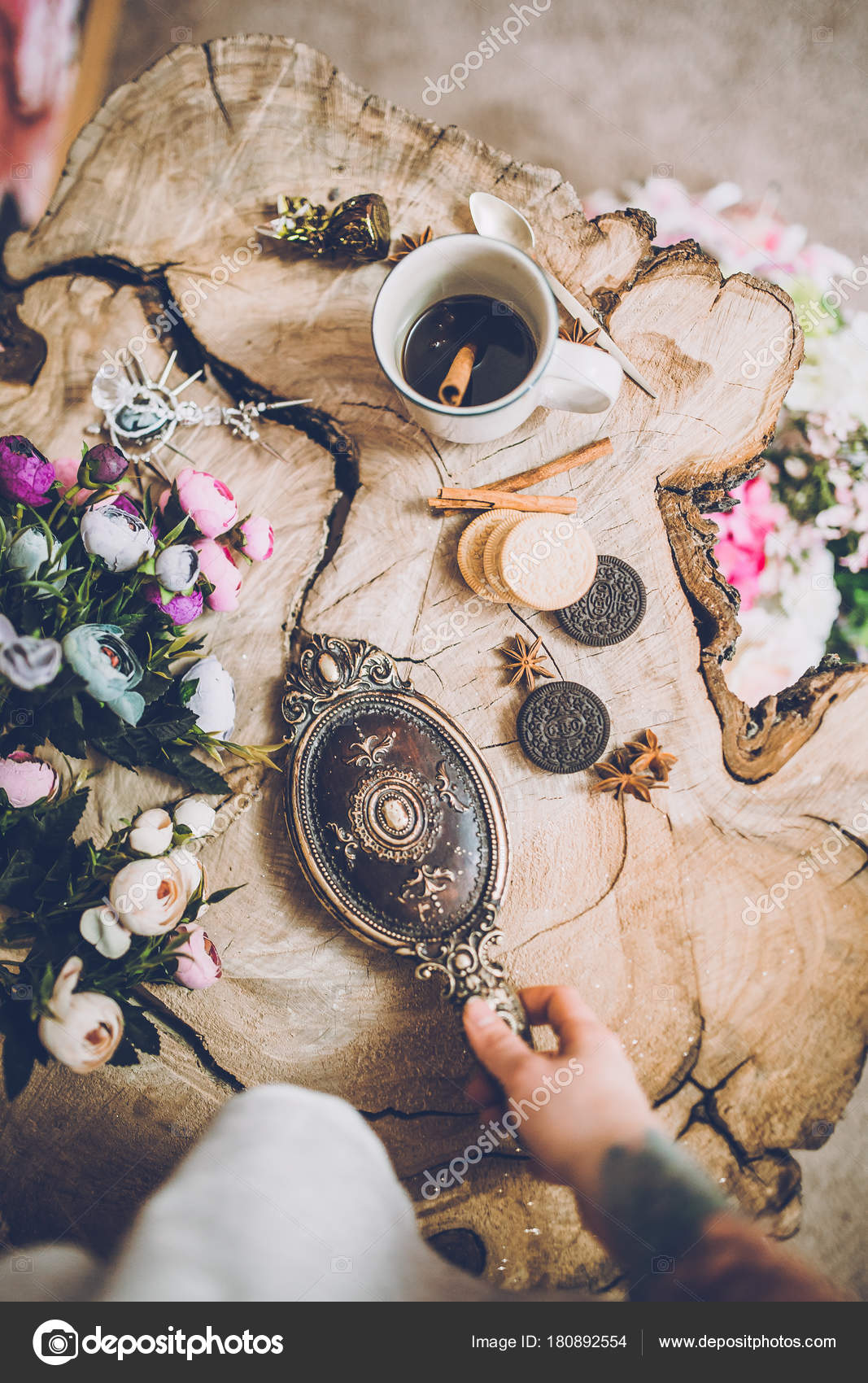 Charmant Close Up Of Human Hand With Tattoo Holding Beautiful Vintage Mirror Near  Spring Flowers U2014 Photo By KristinaPonomareva