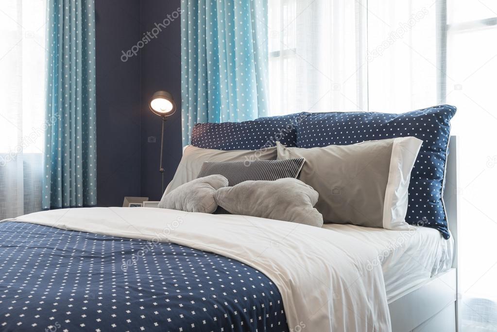 design d\'intérieur chambre à coucher moderne couleur bleu ton ...