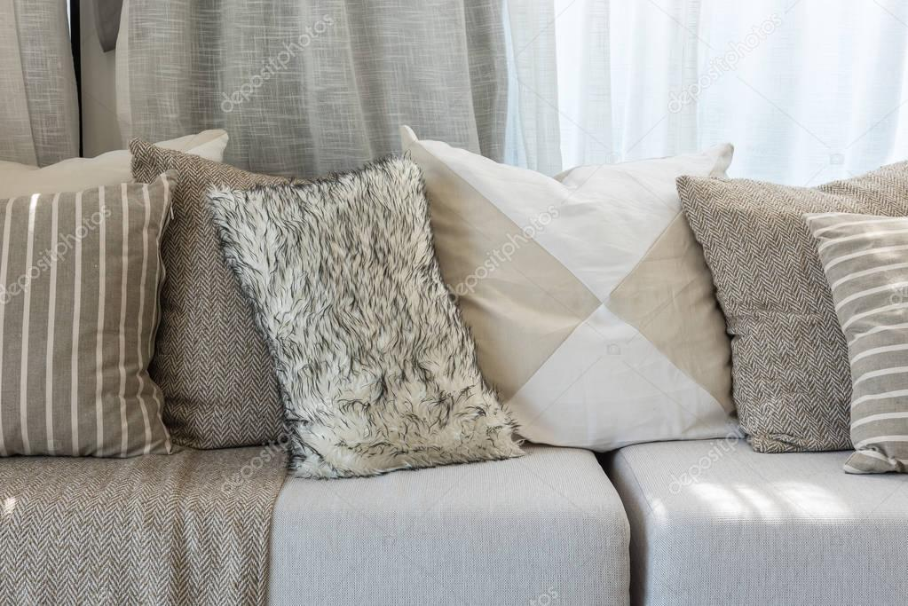 Cuscini Moderni Divano.Set Of Pillows On Grey Sofa In Modern Living Room Stock Photo