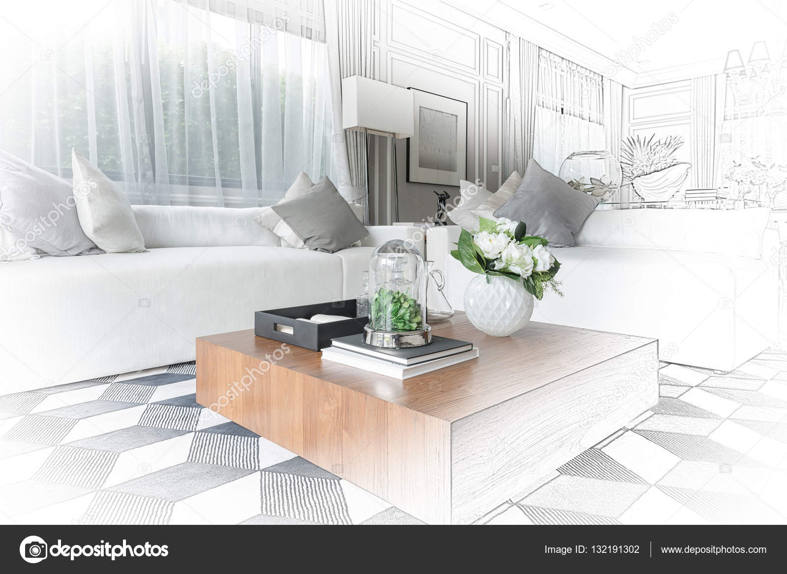 interior sketch design of modern living room with modern chair a ...