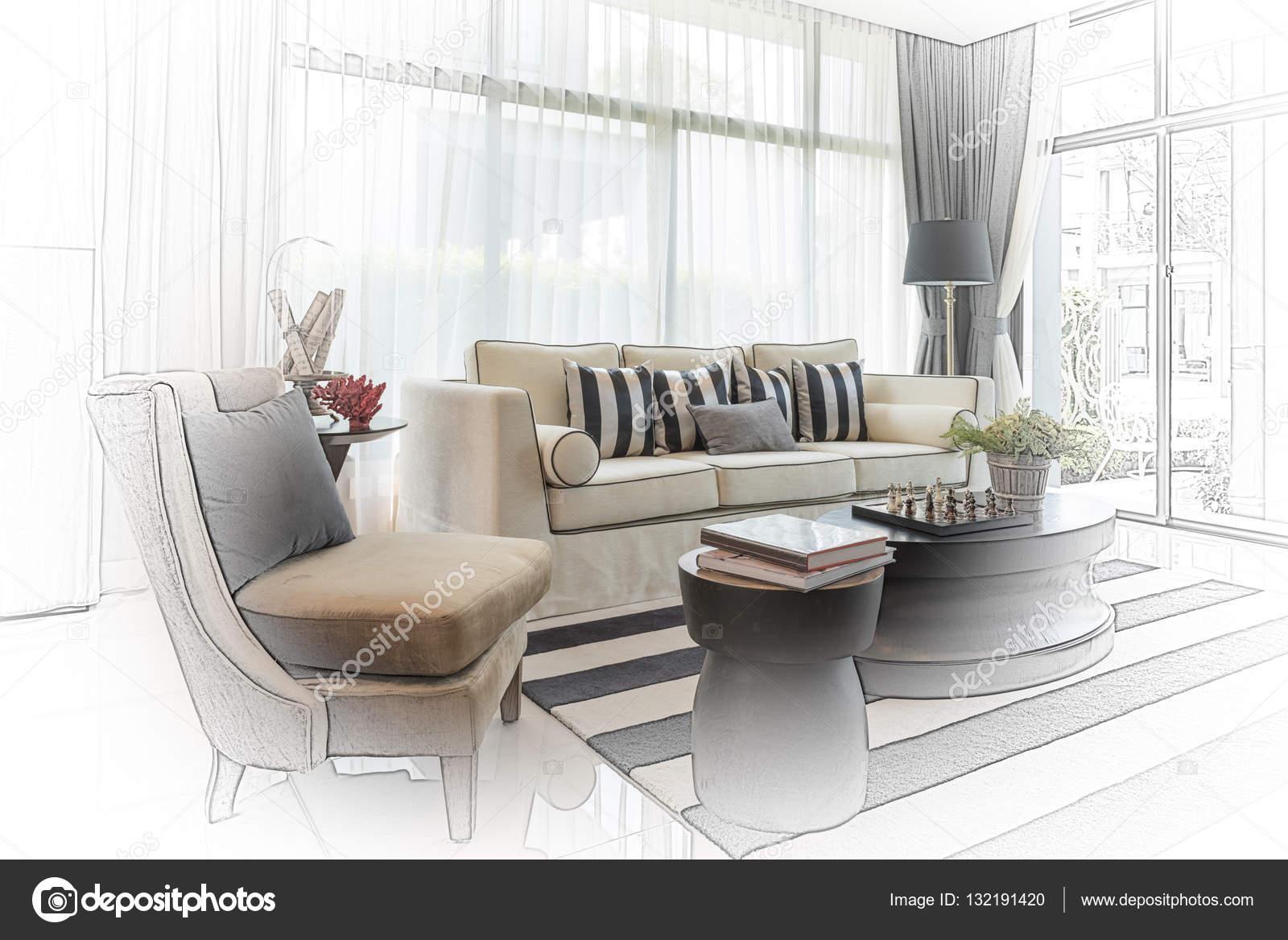 interieur schets ontwerp van moderne woonkamer met moderne stoel een ...