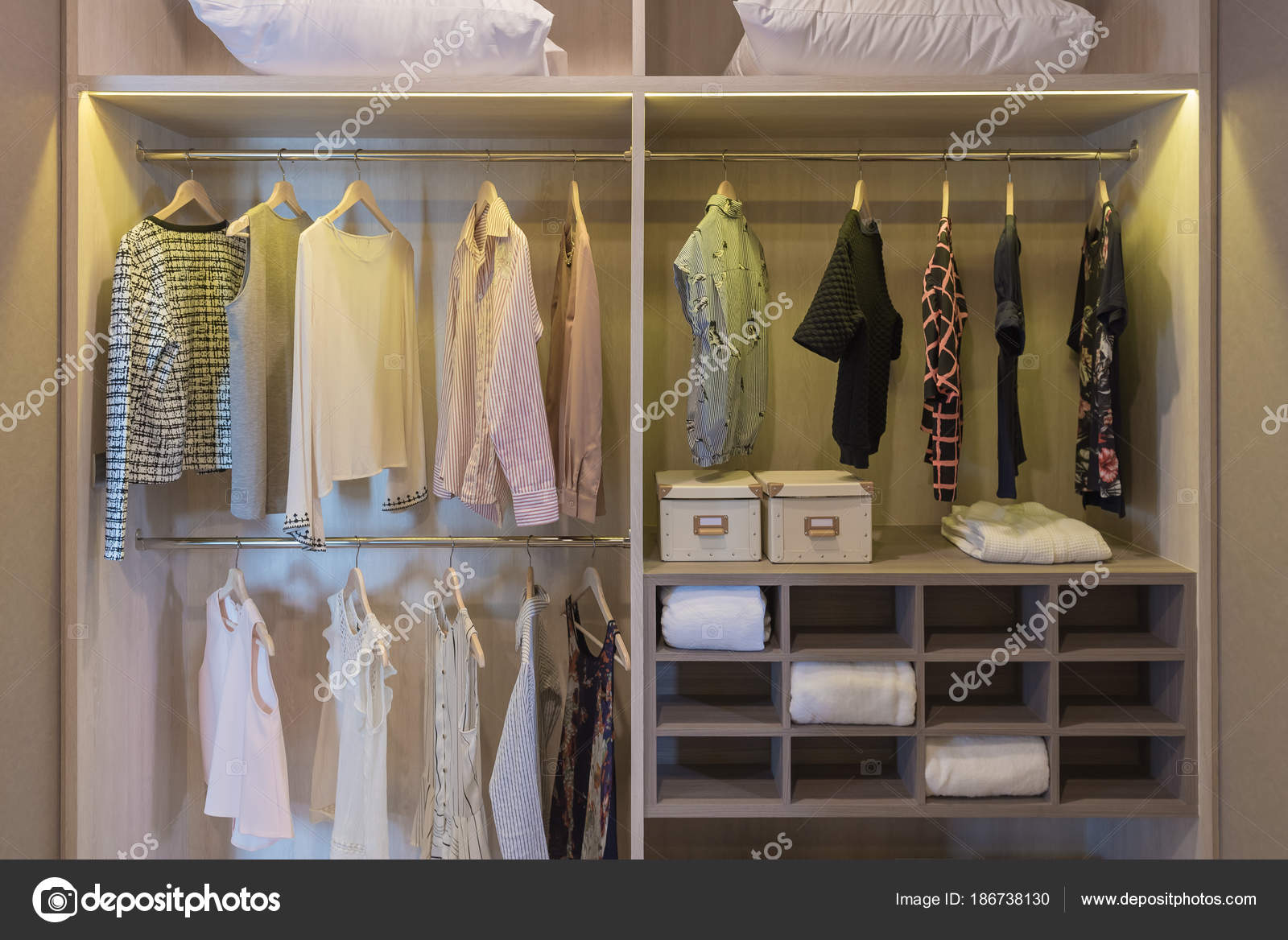 Modern Closet With Clothes Hanging On Rail, Wooden Wardrobe, Walk In Closet  Interior Design U2014 Photo By Khongkitwiriyachan