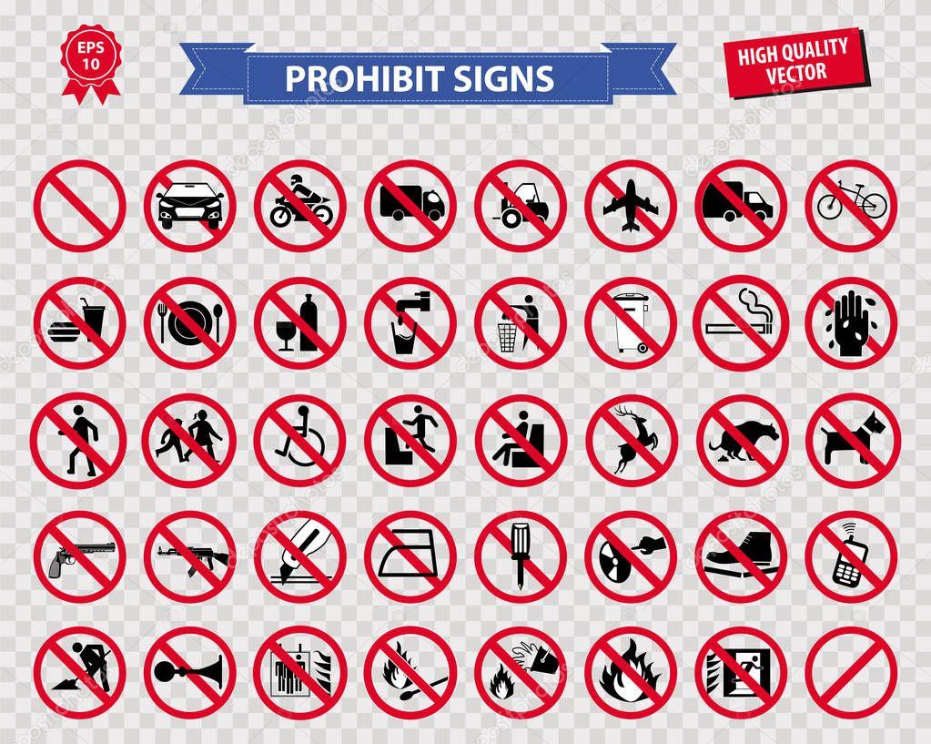 set of prohibited sign