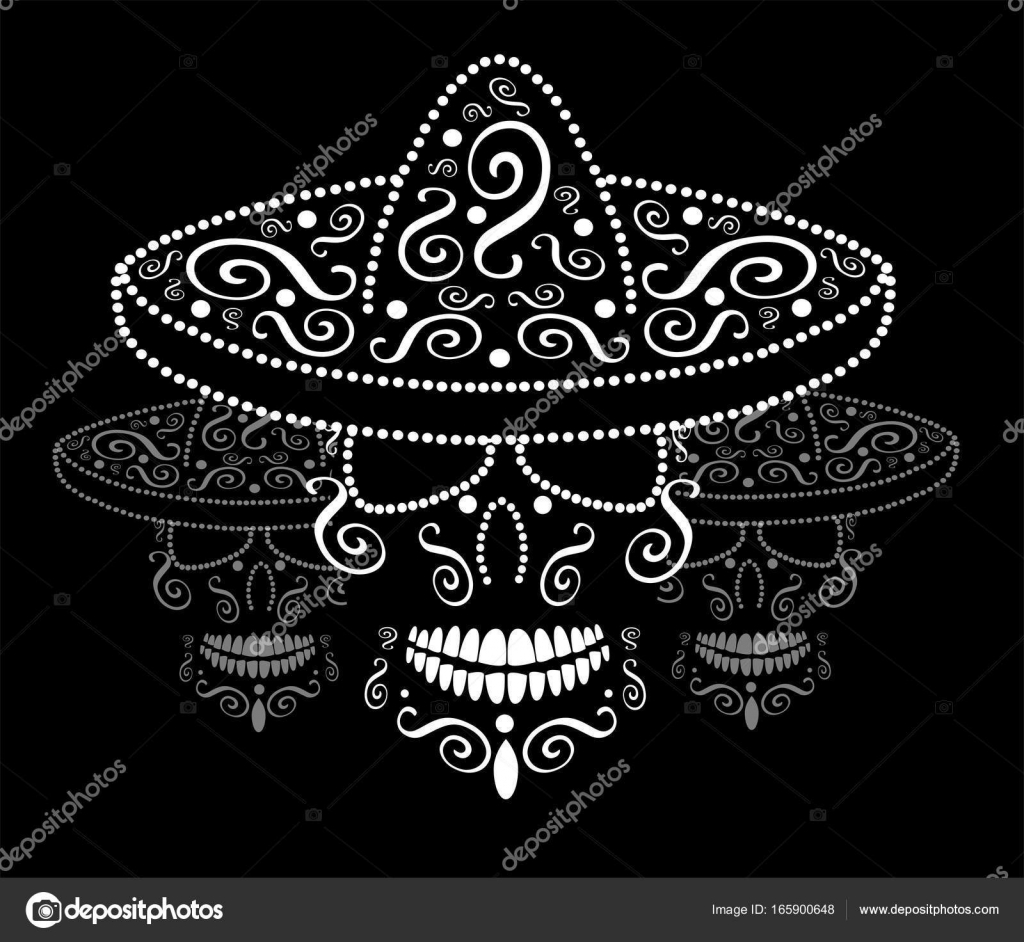 Mexican Skull With Sombrero Day Of The Dead Background Stock Vector