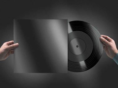 Vinyl record in hands mockup