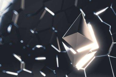 Ethereum coin logo 3D illustration.