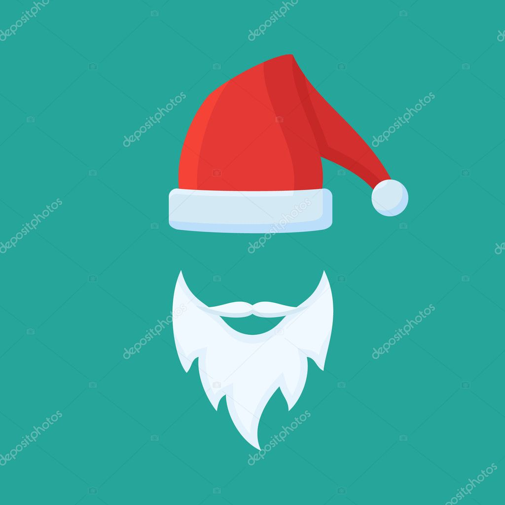 026890558ff2ac Santa Claus hat and beard. Flat style vector illustration. — Stock Vector