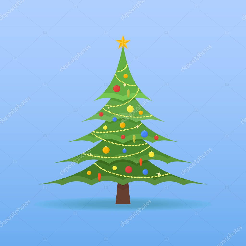 Weihnachtsbaum mit bunten kugeln