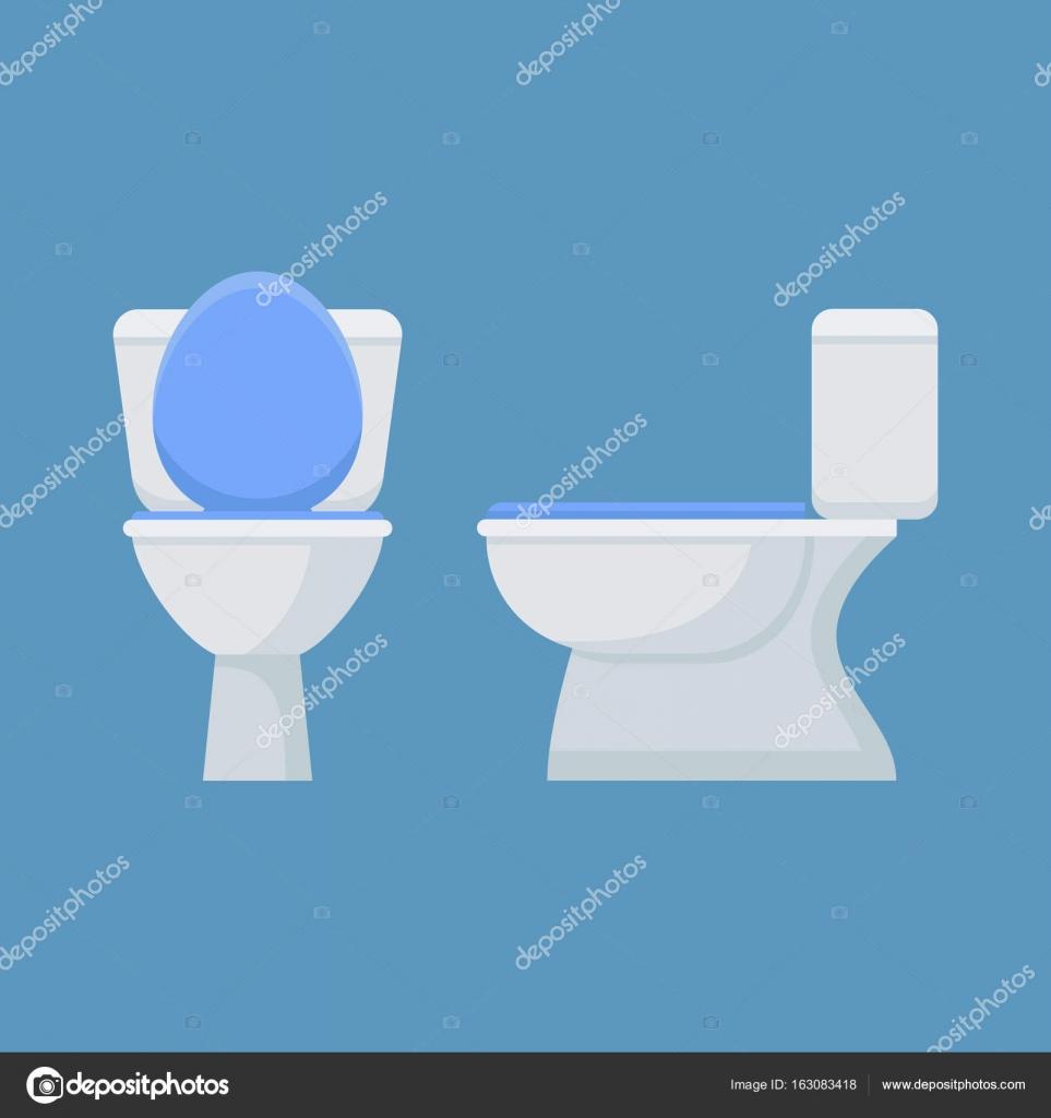 Inodoro Taza Aislado Sobre Fondo Azul Vista Frontal Y Lateral  ~ Como Limpiar El Fondo Del Inodoro