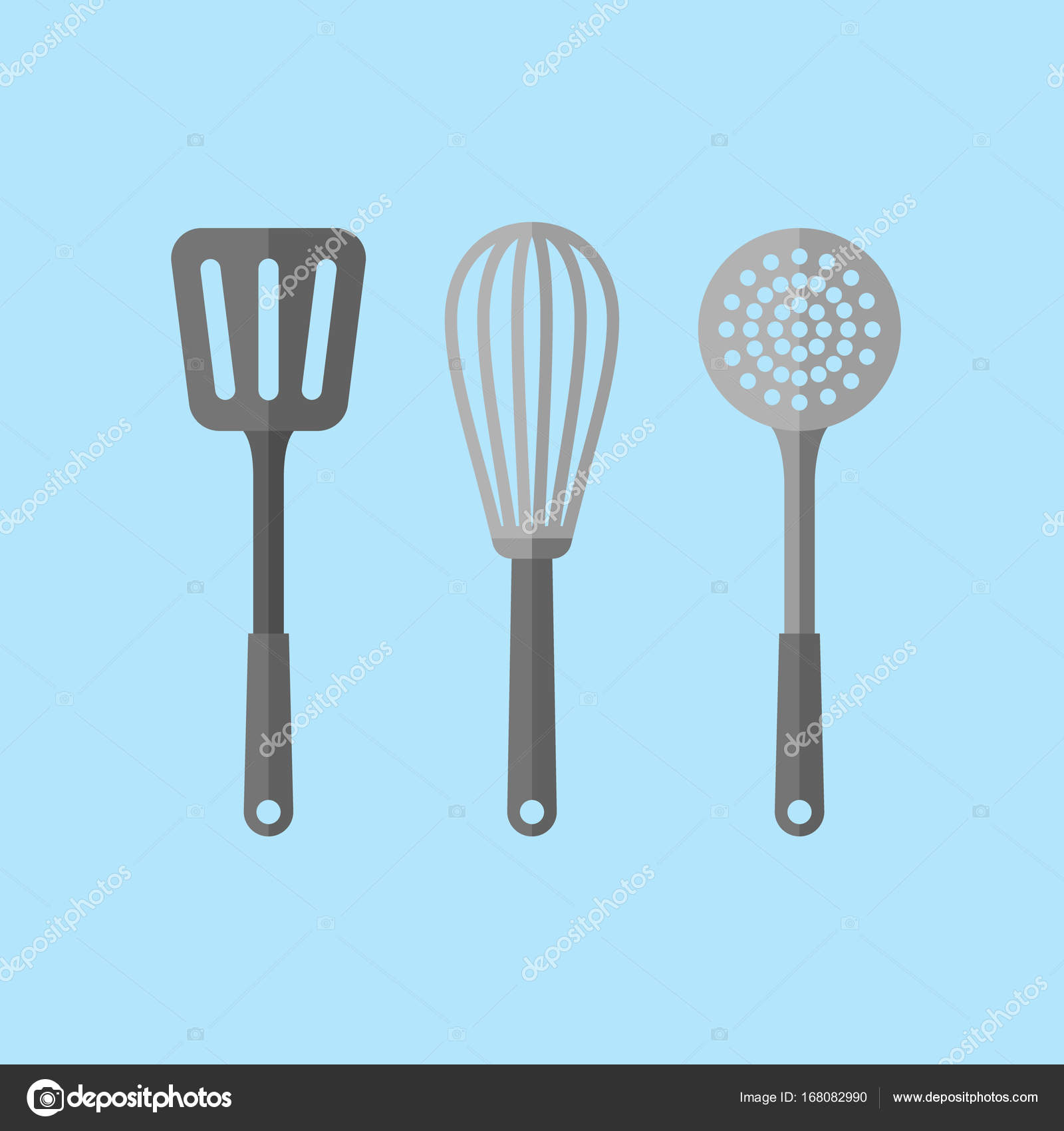 Kitchen utensils. Spatula, skimmer and whisk flat style icons ...