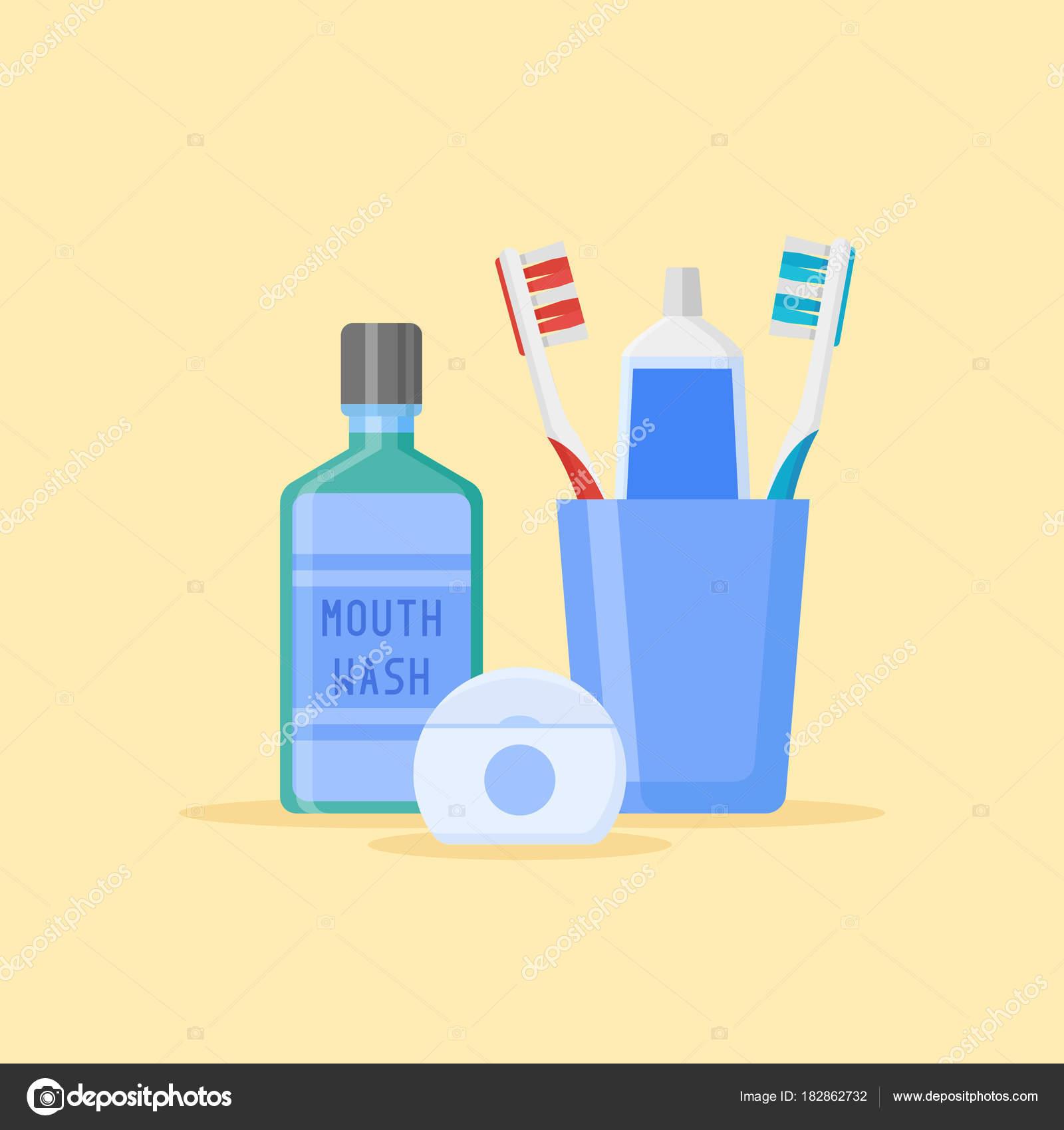 faa35e70c Conjunto de ferramentas de limpeza dentais. Escovas de dentes e pasta de  dente em vidro