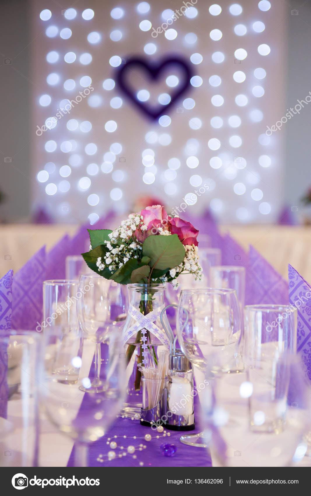 Lila Hochzeit Tischdekoration Stockfoto C Victoriasky1 136462096