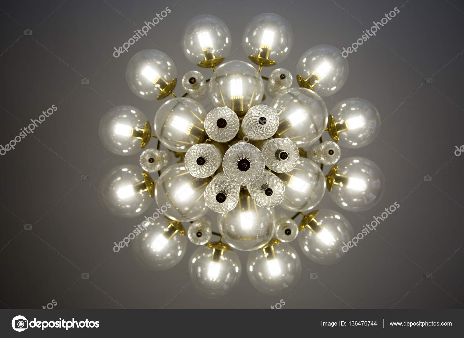 Crystal glass chandelier view from bottom, round shape, round glass ...