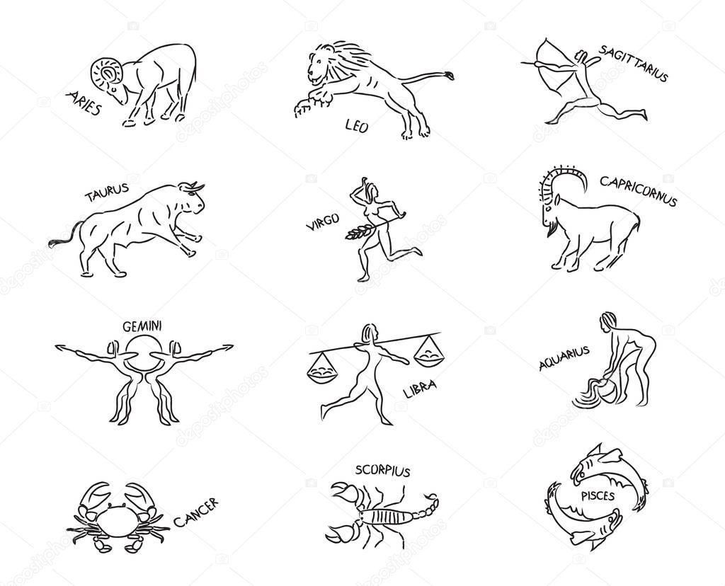 Set astrological sign of zodiacal constellations in the form of petroglyphs and cave paintings