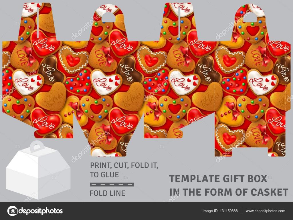Caja de regalo cartón plantilla en forma de ataúd — Vector de stock ...